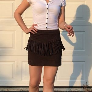Brown faux suede fringe mini skirt